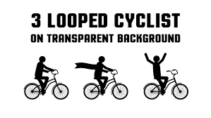Set Of 3 Consecutive Looped Animated Pictogram Cyclist On A Woman Motorcycle Free Transparent Background Clipart