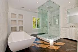 Ceiling Materials For Bathroom by Bathroom Interesting White Freestanding Tub With Shower Of