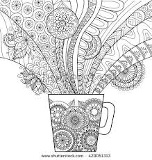 Line Art Design Of A Mug Hot Drink For Coloring Book Adult And Other Decorations