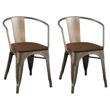 carlisle dining chair with wood seat distressed metal set of 2