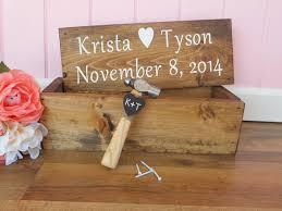Rustic Wedding Wine Box Ceremony Anniversary First Fight Custom Wood Gift Barn Decor