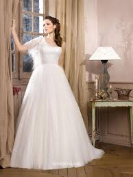 tulle flutter one sleeve strap wedding dress with belt