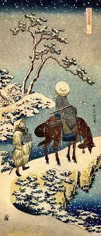 Japanese Art Winter Snowstorm Scene Travelers Hokusai FINE ART PRINT Woodblock