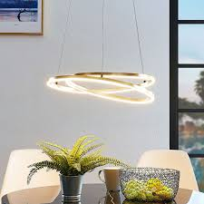 lindby davian led hanging light dimmable brass led