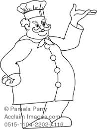 Clip Art Image of a Fat Chef Coloring Page