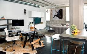 View In Gallery Industrial Home Office That Seems Like A Natural Extension Of The Living Space Design
