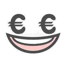 Download Laughing Face With Euro Symbols Stock Vector