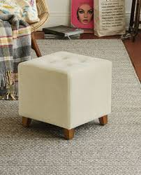 hocker hocker sitzhocker samt design creme weiß sitzwürfel