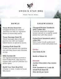100 Salt Lake Food Trucks Truck Menu Smokin Star BBQ