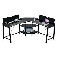 desk techni mobili l shaped glass top computer desk graphite l