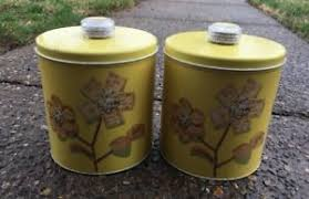 2 Vintage Blue Magic Krispy Kan Retro Cracker Snack Yellow Tin Dri