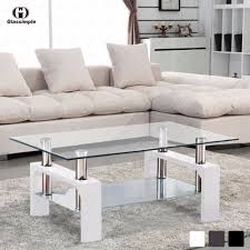 100 Living Room Table Modern Glass Chrome Wood Coffee Shelf Rectangular