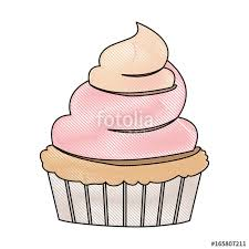 crayon silhouette of hand drawing color cupcake with pink and vainilla buttercream decorative