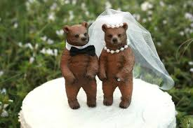 Bear Wedding Cake Topper Lover Rustic Hunter Fall Brown Hunting