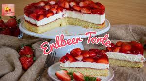 erdbeer torte mit leichter sahnecreme klassischer erdbeerkuchen