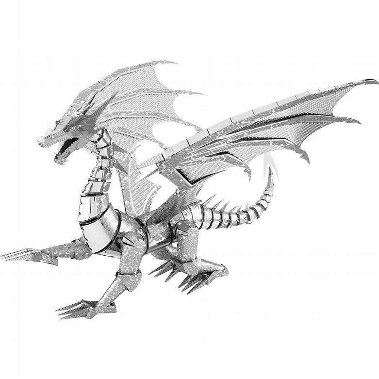 Fascinations Iconx Dragon Metal Earth 3d Laser Cut Steel Model Kit - Silver