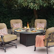 Broyhill Outdoor Patio Furniture by Darlee Elisabeth 5 Piece Cast Aluminum Patio Fire Pit Conversation