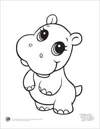 Learning Friends Hippo Baby Animal Coloring Printable From