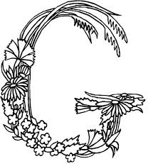 Alphabet Flowers Letter G Coloring Pages