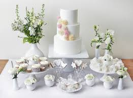 White Dessert Table With Alice Cake