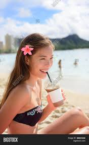 Beach Woman Drinking Iced Coffee Cappuccino Drink Enjoying Lifestyle Smiling Happy On Waikiki Honolulu