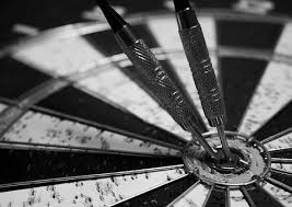 Dart Board Game Black And White Target Spo