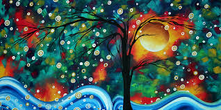 Abstract Art Original Landscape Painting Bold Circle Of Life Design DANCE THE NIGHT AWAY By MADART Megan Duncanson