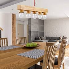 eylm pendelleuchte holz hängele e27 hängeleuchte mit 5 flaming für flur esszimmer wohnzimmer restaurant bar café ohne glühbirne