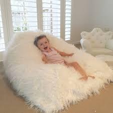 Shaggy Fur Beanbag White Cloud Chair Fluffy Bean Bag