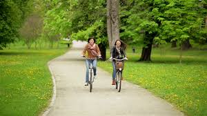 Laughing Two Female Friends Are Riding On Bicycles In The Park Young Funny Women With
