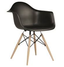 Eames Style DAW Molded In Black Plastic Dining Armchair With Wood ... Eames Plastic Armchair Daw 3d Cgtrader Replica Chair Ding Chairs Nick Scali Online Style Dark Gray With Wood Eiffel Charles Ray Office Upholstered Grey Cult Uk Armchair Model White And Dowel Light Buy The Vitra Utility Dowel Kids Vetrohome Modern Fniture