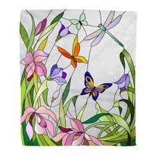 100 Flannel Flower Glass Amazoncom Emvency Throw Blanket Warm Cozy Print
