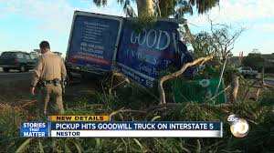 100 Goodwill Truck Delivery Truck Ripped Open In I5 Freeway Crash