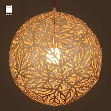 Wood Ball Coral Pendant Light Cord Fixture Modern Japanese Rustic Style Hanging Lamp Lustre Luminaria Dining