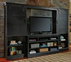 4 Pc Sharlowe Collection Distressed Dark Charcoal Finish Wood Tv Rustic Style Entertainment Center This