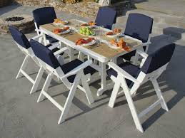 Coastal Style White And Navy Blue Patio Chairs With Dining Table