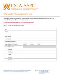 canadian speakers bureau csla speakers bureau application form