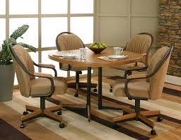 Round Dining Room Set For 4 by Casual Sunset Oak Finished Dining Table With 4 Chenille