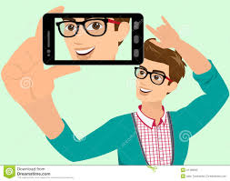 happy guy taking selfie vector illustration self snapshot contains eps high resolution jpeg