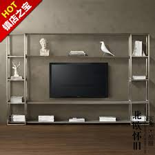 Nordic IKEA TV Cabinet Retro Wood To Do The Old Wrought Iron Mash Wall Display