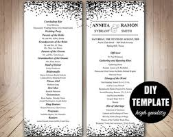 Black And White Wedding Programs Confetti Program TemplateWedding Instant Download