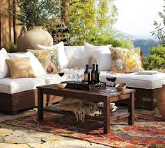 Appealing Patio Decoration With Rustic Outdoor Furniture Of Sofa Bed And Wooden Table