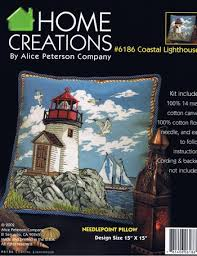 Alice Peterson Coastal Lighthouse Pillow Needlepoint Kit 6186