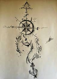 Small Anchor And Compass Tattoo