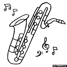 Bass Saxophone Coloring Page