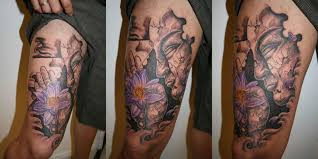 Buddha Flower Great Leg TaT By 2Face Tattoo