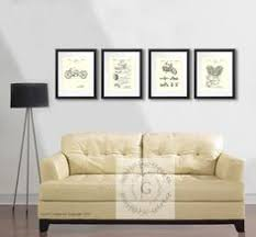 Vintage Harley Home Decor Posters Set 4A Of 4 Cream Beige Wall Art Patent Prints Biker Man Cave Gift For Him