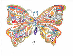 Rainbow Colored BUTTERFLY MIX Digital Print Of Abstract Original Ink Drawing For Wall Art Home