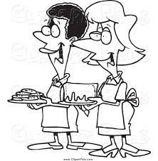 Pal Clipart of Black and White Women at a Bake Sale