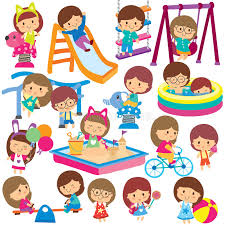 Kids At Clip Art Playground Clipart Childrens Black And White